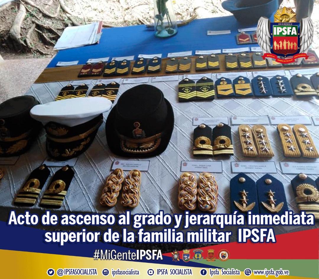 IPSFA reconoce lealtad y logros de su gente militar con ascensos al Grado y Jerarquía Inmediata Superior